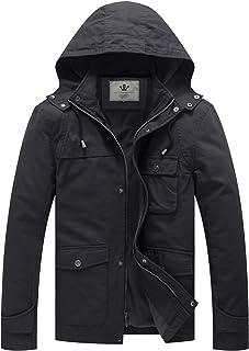WenVen Men's Hooded Cotton Trucker Jacket