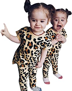 JYC Outfits Set Toddler Kids Baby Girls Leopard Print Shirt Tops Pants 2PC  Multicolor  3-4 Years