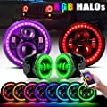 "DOT Approved 7"" RGB Halo Jeep Wrangler Headlights + 4"" RGB LED Fog Lights Halo Ring Amber Combo Kit For Jeep Wrangler 1997-2019 JKU JK Rubicon TJ LJ Willy Wheeler Sahara, Bluetooth Remote Control"