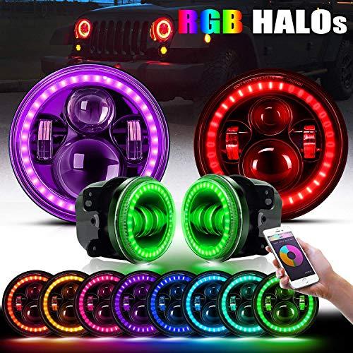 DOT Approved 7  RGB Halo Wrangler Headlights + 4  RGB LED Fog Lights Halo Ring Amber Combo Kit For Wrangler 1997-2019 JKU JK Rubicon TJ LJ Willy Wheeler Sahara, Bluetooth Remote Control