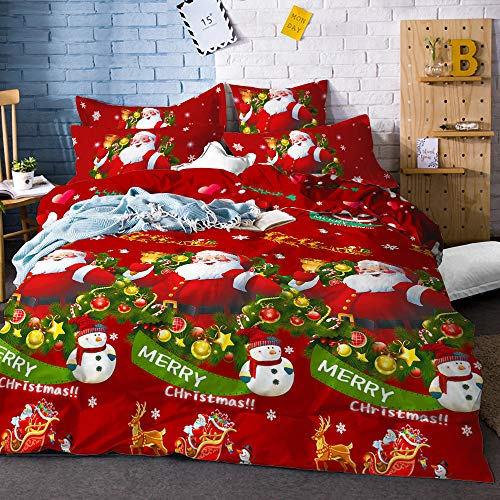 Christmas Duvet Cover Full/Queen Size Snowman Red Green Bedding Set Santa Claus Quilt Cover with Zipper Closure Happy New Year Bedding Cover 3 Piece Bed Set