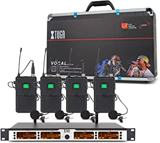 XTUGA SKM4000 4 x100 Channel UHF Wireless Bodypack Microphone System with Selectable Frequencies Prevent Interference, Use...