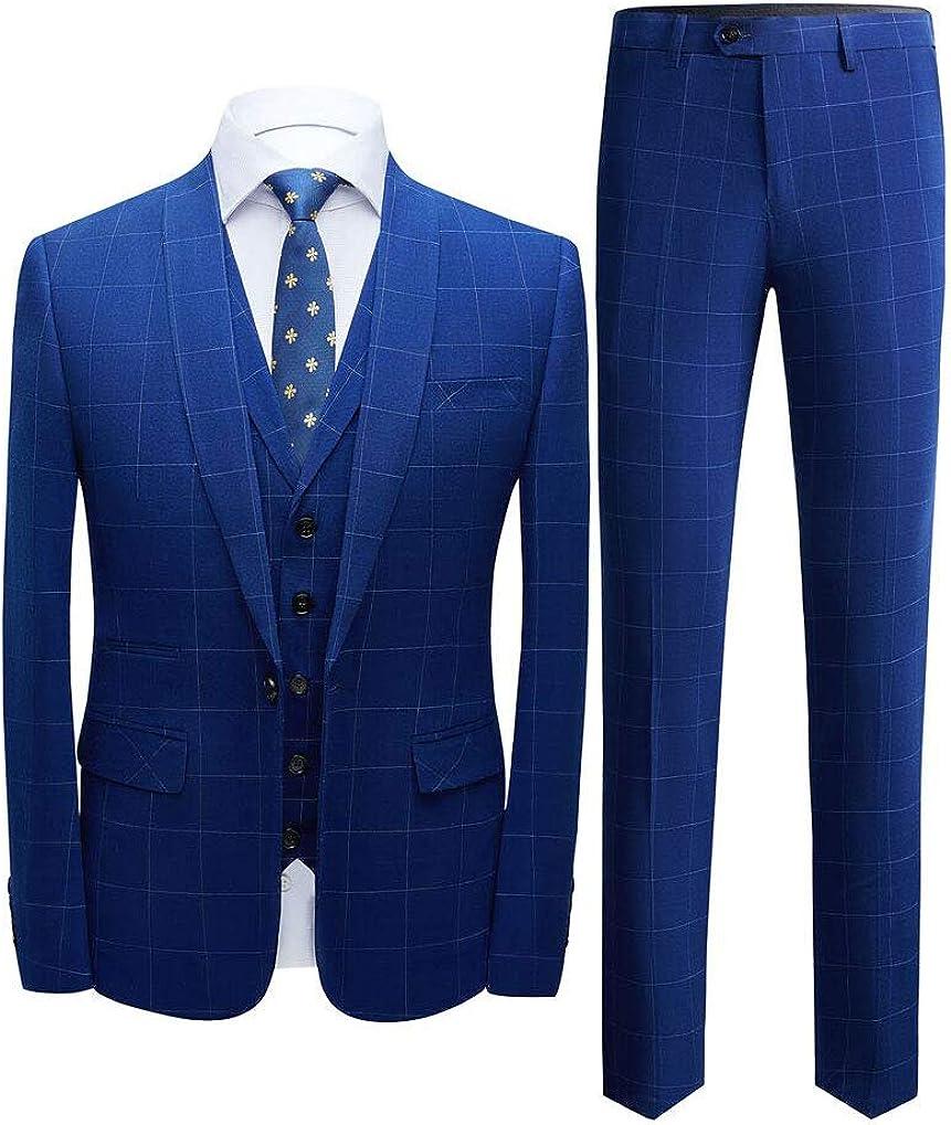 Men's Blue Plaid Shawl Lapel Suits 3 PC One Button Wedding Suits Groom Tuxedos Dinner Suits