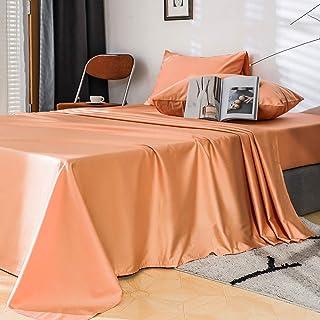 FULAN Queen Size Cotton Satin Sheet Set Coral Orange 4...