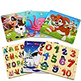 Puzzle madera niños, 20 piezas rompecabezas madera bebe, include animales, numeros, letras, regalo para niños(6 paquetes, 20 piezas)