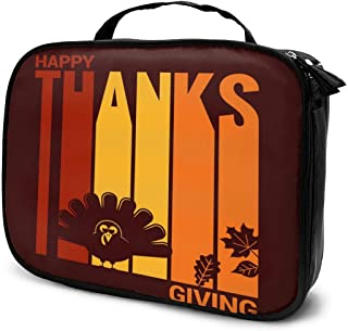 Cosmetic Bag Thanksgiving Turkey Abstract Design Makeup Bag Lightweight Portable Cosmetic Case Water Resisted Cosmetic Makeup Bag Durable Organizer Makeup Boxes With Insulated Pockets For Travel