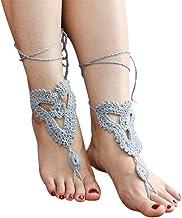 Deinbe 1 Par Manera de Las Mujeres para el Tobillo Descalzo Ganchillo Cadena Elegante niña de algodón de Tobillo Dama Joyas Pulsera Sandalia Pie de Yoga