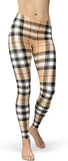 Beige Plaid Leggings for Women Scottish Tartan Pattern Print Mid Rise Waist Pants