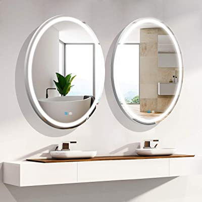 Oval LED Bathroom Mirror with Lights for Wall Mounted 32x24 Inch Anti-Fog Dimmable Cold White Smart Bathroom Mirror Waterproof Makeup Vanity Lighted Bathroom Mirror