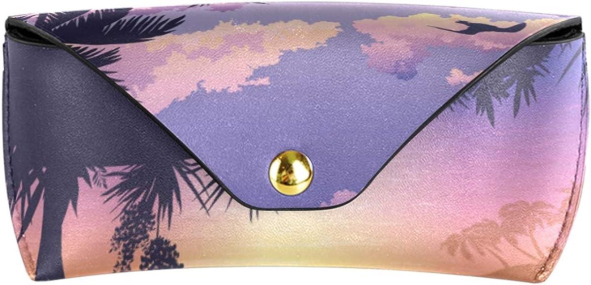 Sunglasses Case Eyeglasses Pouch Art Sunset Tropical Island Sea Landscape Wallet PU Leather Goggles Bag Multiuse Portable