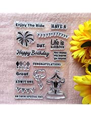 GAWEI Congratulations Happy Birthday Clear Stamps for Card Making and DIY Scrapbooking Transparent Stamps Silicone Stamps Photo Album Decorative