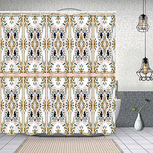YANAIX Cortina Ducha Impermeable,patrón de Talavera Azulejos Portugal Ornamento Turco,Impresión de Cortinas baño con 12 Ganchos 150x180cm