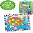 The Learning Journey: Jumbo Floor Puzzles - USA Map - Extra Large Puzzle Measures 3 ft by 2 ft