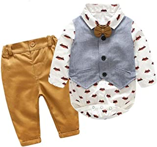 Toddler Baby Boys Gentleman Suit Bowtie Romper Vest Pant Clothes Set