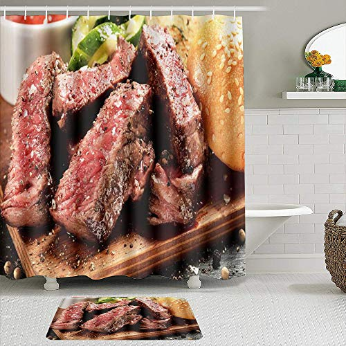 JISMUCI Rideau de Douche,Prime Black Angus Steak Burger Moyen Rare degré de Cuisson du Steak imprimé Graphique, 2 pièces Ensemble avec Crochets imperméable