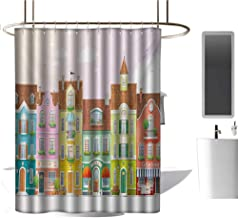 TimBeve Polyester Shower Curtain Vintage,Retro Houses in with Small Businesses Bakery Fishmonger Coffee Shop,Multicolor,Print Polyester Fabric Bathroom Decor Sets with Hooks 54