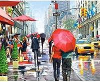 クロスステッチ大人、初心者11ctプレプリントパターン通りの歩行者40x50cm -DIYスタンプ済み刺繍ツールキットホームの装飾手芸い贈り物40x50cm(フレームがない )