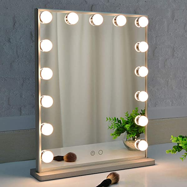 BEAUTME Hollywood Makeup Mirror With Lights Vanity Mirror With 15pcs Adjustable Led Lights Tabletop Or Wall Mounted Dressing Illuminated Cosmetic Beauty Mirror Adjustable Brightness Silver