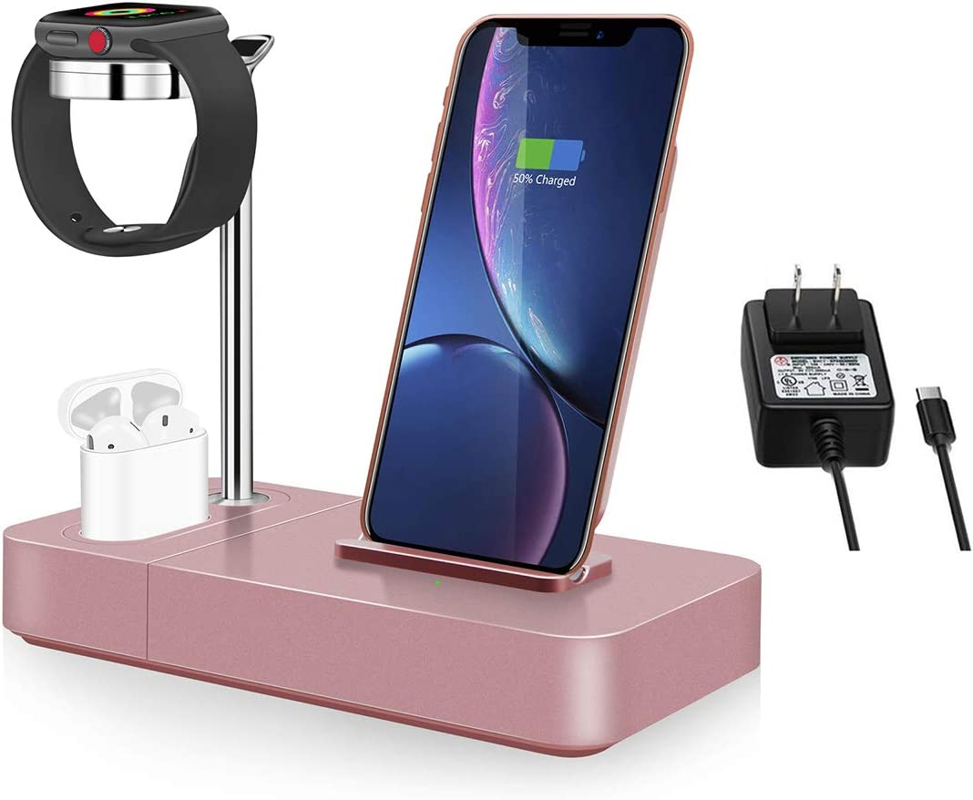 Wireless Charger Stand Rose Max Excellence 42% OFF Gold 3 in Qi Dock 1 Watch 7.5W Phone
