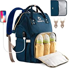 Diaper Bag Backpack for Mom Waterproof Baby Nappy Bags Insulated Bottle Pockets Large Multi-functional Travel Back Pack Built-in USB Charging Port with Changing Pad & Stroller Straps (Dark blue)