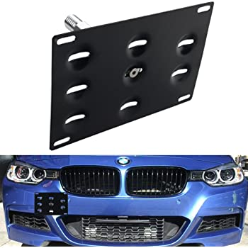 DEWHEL Front Bumper Tow Hook License Plate Mount Bracket Holder Bolt On for BMW F22 F30 F31 F32 F33 F36 F10 F11 F07 F25 F26 F15 F16 2 3 4 5 Series