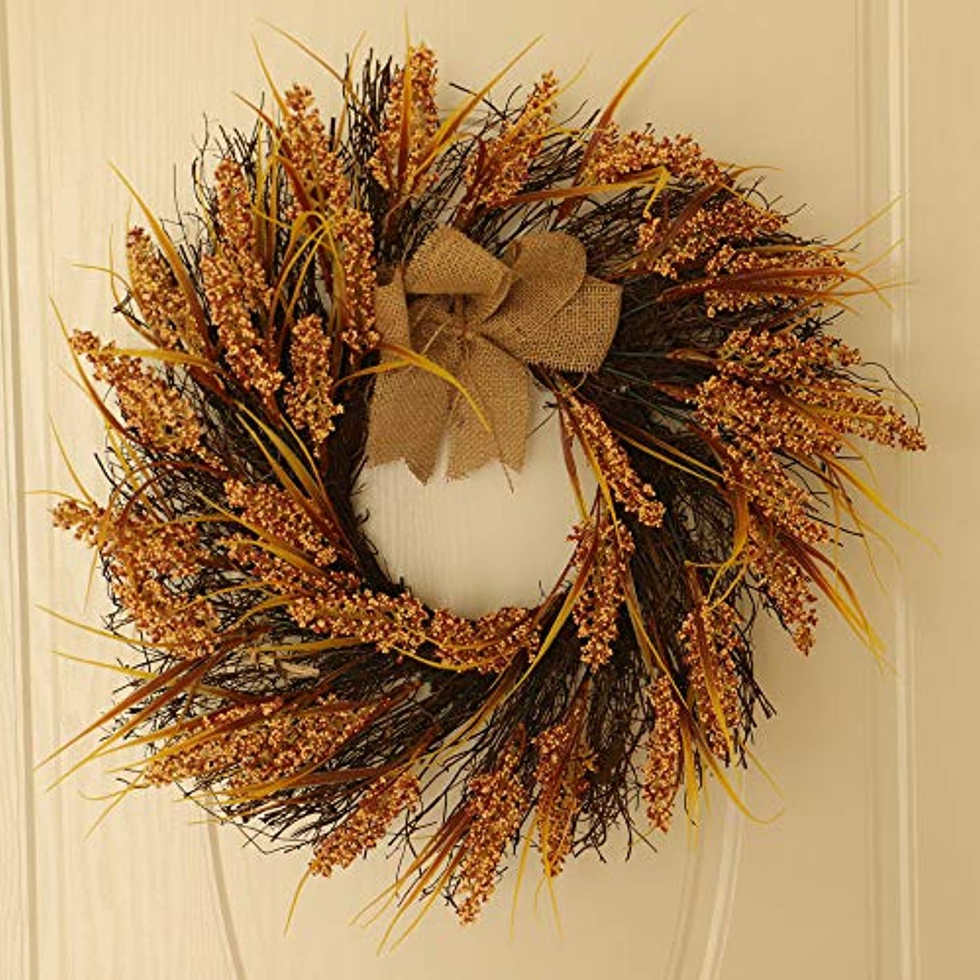 Icocol Decorative Front Door Wreath 24 Inch - Year Round Beautiful Silk Wreath Transforms Front Door Decor, Handcrafted with Care, Storage Gift Box Included (N)