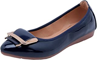 DRV5G7F Pointed Toe Flats PU Leather Women Summer Shoes Metal Decoration Ballet Flats Career Office Shoes Ladies Casual Shoes