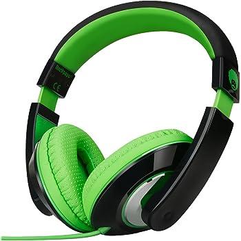 Rockpapa On Ear Stereo Headphones Earphones for Adults Kids Childs Teens, Adjustable, Heavy Deep Bass for iPhone iPod iPad MacBook Surface MP3 DVD Smartphones Laptop (Black/Green)