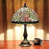 SINCERE@ 12-Zoll- Weinlese - Pastoral Herrliche Blumen-Buntglas Tiffany Tischlampe Schlafzimmer Lampe Nachttischlampe