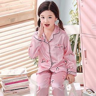 ملابس نوم طويلة للأولاد مصنوعة من الحرير مجموعة من ملابس النوم للربيع والساتان للفتيات