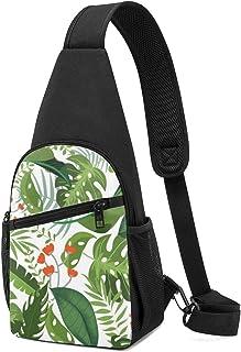 Greenery - Mochila bandolera con patrón de hojas sin costuras, ligera, para el hombro, bolso bandolera, para viajes, sende...