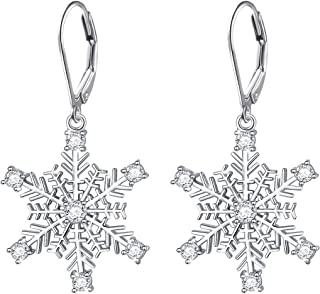 S925 Sterling Silver Snowflake Necklace Earrings Bracelet Ring Set for Lady Women Girl Jewelry