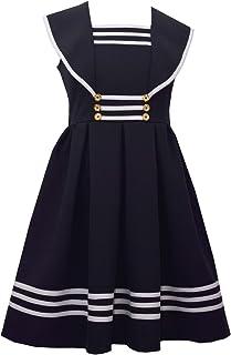 Girl's Sailor Collar Gold Button Nautical Dress
