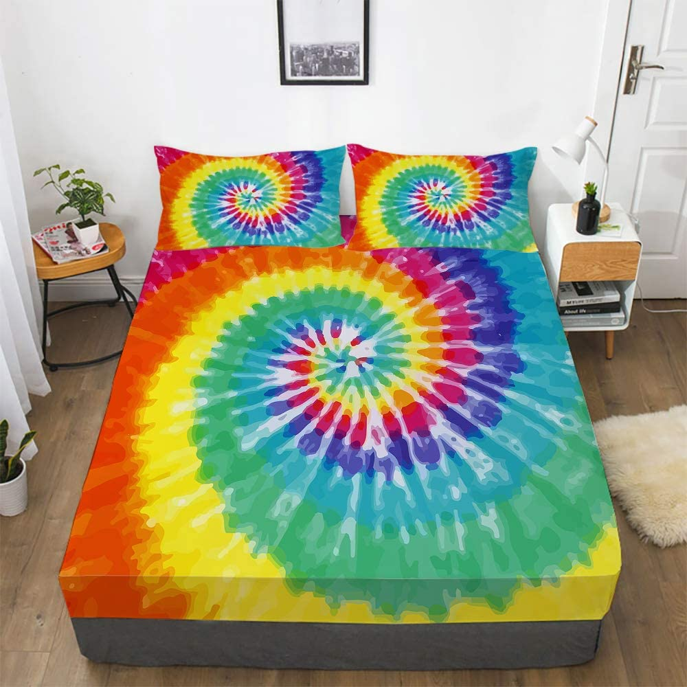 Tie Dye Fitted Sheet Set Girl 営業 for Rainbow 新作送料無料 Bedding Full