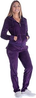 LeeHanTon Velour Hooded Tracksuit Set Zipper Jogging Outfits Active 2 Pieces Sweatshirt and Pants Running Jumpsuit