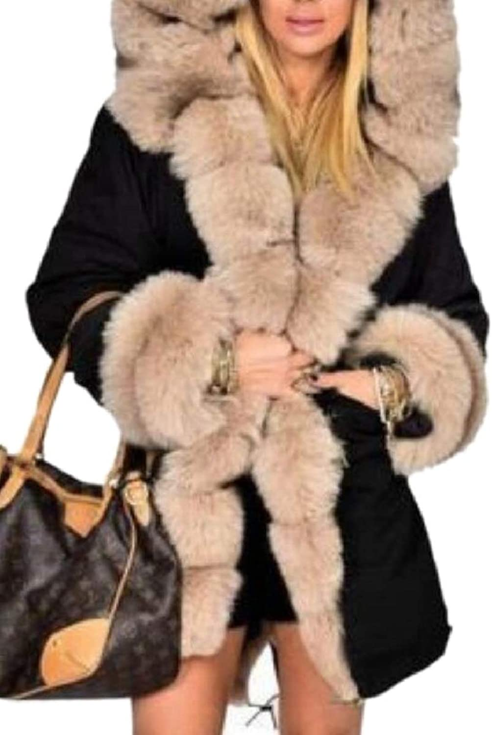 LEISHOP Women's Faux Fur Hood Quilted Contrast color Coat Overcoat Thick Parka