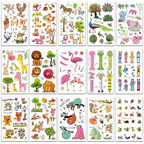 SZSMART Zoo Tier Temporäre Tattoos, Tier Sticker Tattoos, Klebe-Tattoos Für Kinder Mädchen Jungen Aufkleber Sticker für Kindergeburtstag Mitgebsel Gastgeschenke Party Spielzeug (Tiere Tattoos # 1)