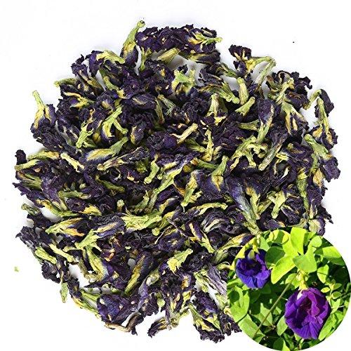 TooGet Flores de Guisante de Mariposa Puras Secas, Clitoria ternatea Natural Té Azul de Hierbas al por Mayor, Grado Superior - 60g