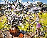 Pintura por Números para Adultos y Niños, Flor de la muchacha de la granja de la selva Dibujos para Pintar con Números, DIY Pintura al Óleo por Números Decoración del Hogar 40 x 50 cm(Sin Marco)
