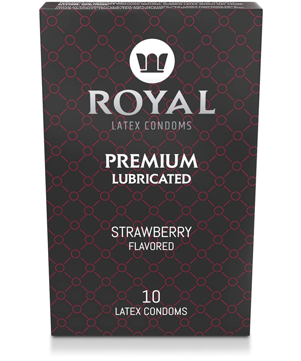 Royal Premium Strawberry Flavored and Scented Condoms - Ultra Thin, Lubricated, High Quality Non-Toxic Vegan Latex and Odor Free for Long Lasting Extended Pleasure and Performance, 10 Pack