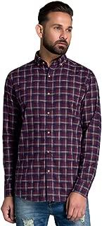 ID Men Navy-Red Slim Fit Shirt