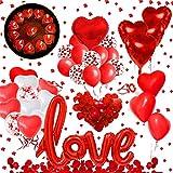 Hook Valentinstag Deko Dekoration Rosenblätter Rot, Herzballons XXL Love Folienballon, rote Ballons,400PCS Rosenblüten, Romantische Kerzen Rote Teelichter, Latex Luftballons Valentinstag für ihn G