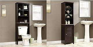 Sauder Peppercorn Etagere Bath Cabinet, Cinnamon Cherry Finish + Sauder Linen Tower Bath Cabinet, Cinnamon Cherry Finish_Bundle