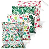 4 Pieces Waterproof Wet Bag Reusable Washable Wet Dry Bag Sealed Wet Diaper Bag with Handle for Travel, Beach, Wet Swimwear, Diapers, Dirty Gym Clothes and Toiletries, 12 x 14 Inch, Hawaiian Style