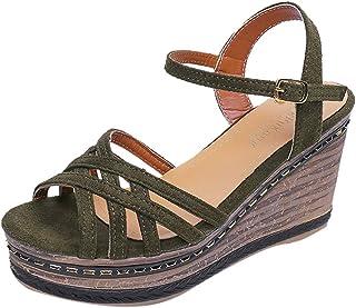 c84657e7 Ujump-Ijump Sandalias de Mujer Moda Verano Tacones Altos Zapatillas Cuñas  de Color sólido Correa