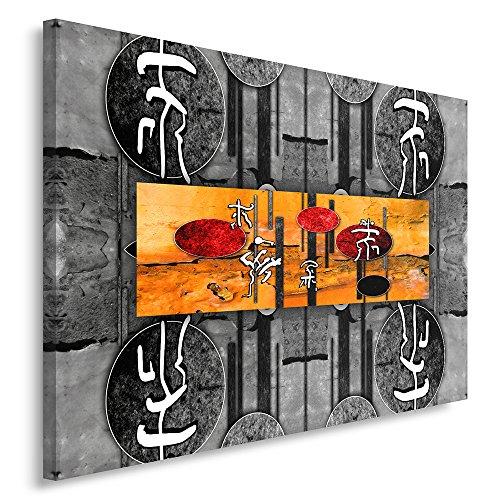 Feeby Frames, Cuadro en Lienzo, Cuadro impresión, Cuadro decoración, Canvas de una Pieza, 80x120 cm, Caracteres JAPONESES, CIRCULOS, ABSTRACCIÓN, Blanco Y Negro, Naranja