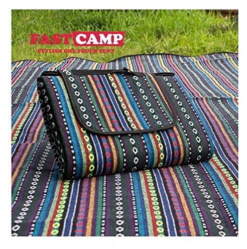 """FASTCAMP IDOOGEN Round Outdoor Picnic Blanket, 95"""" x 57"""" Waterproof Backing Soft Fleece Material Camping Tote Mat - for 4~5 Peoples(Medium) - Green"""
