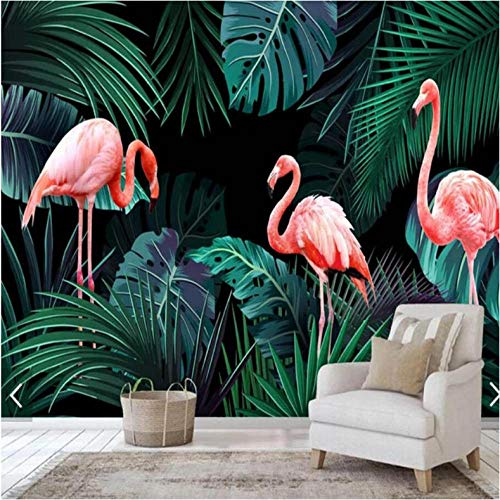 Wuyii Flamingos Tropisch Palmbladeren Fotobehang Gedrukt Fotobehang Papierrollen Contactpapier Regenwoud behang Gepersonaliseerd 200 x 140 cm.