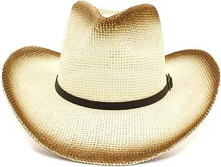 LiWen Zheng Women Men Western Outdoor Cowgirl Hat Visor New Ladies Spray Paint Straw Hat Narrow Belt Decorative Sun Hat