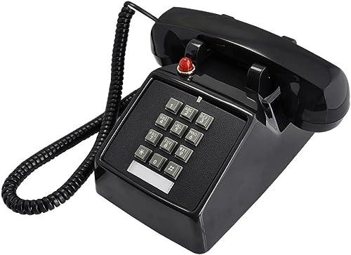 DONGLU Téléphone Filaire téléphone Antique   Boutons téléphone Fixe Sonnerie téléphone Rouge ( Couleur   Noir )